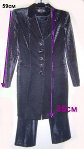 Костюм брючный черный с блеском-двойка, как новый, б.у-18руб