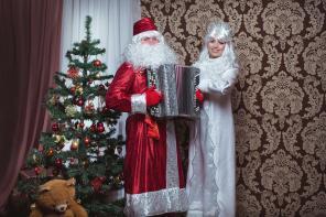 Дед Мороз и Снегурочка Москва Праздник под гармонь