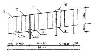 Типовые стальные лестничные ограждения (перила типа ЛО 12)