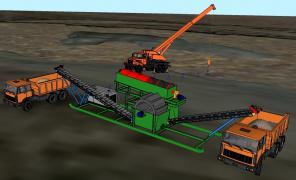 Передвижной комплекс добычи и промывки речного песка