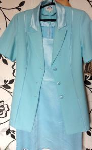 Костюм голубой: платье и кардиган размер 42