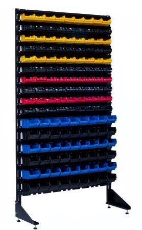 Стеллаж с разными пластиковыми ящиками