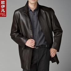 Продам новое мужское кожаное пальто черный весна-осень Швеция 54/180
