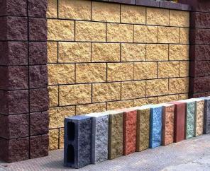 Блок заборный декоративный колотый, для забора, фасада, шлакоблок
