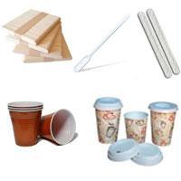 Стаканы пластиковые и бумажные, размешиватели