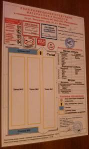 Изготовление планов размещения продукции, материалов и веществ с описа