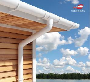 Австрийская ПВХ водосточная система для крыши Regenau 125/80/100