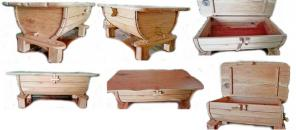 Журнальный столик - Бочка - из массива Дуба. Размер 700х1270х530