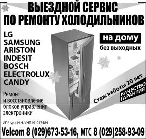 Ремонт холодильников импортного производства в городе Несвиже