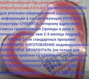 БРОМЭНТАЛЬ-БиоРезонансный Организатор Материально-Энергетических Аллел