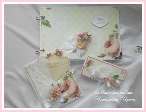 Свадебные книги пожеланий, открытки и конверты ручной работы.