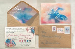 Акварельные приглашения в крафт конверте