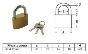 Замок навесной Optoring Gold 32 mm под один ключ